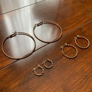 Pairs of Gold Hoops (Sterling Silver)